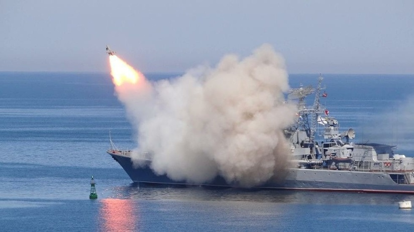 Russian warship along with a submarine stationed in the Mediterranean, fired cruise missiles at the Islamic State in centralSyria