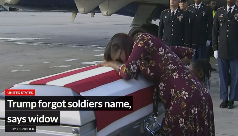 Trump forgot soldiers name, says widow
